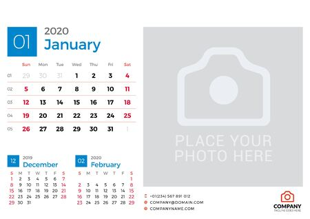 Calendar for January 2020. Vector design print template with place for photo. Week starts on Sunday. 3 months on page