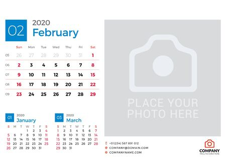 Calendar for February 2020. Vector design print template with place for photo. Week starts on Sunday. 3 months on page Çizim