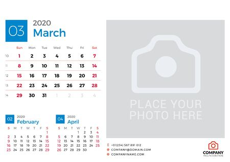 Calendar for March 2020. Vector design print template with place for photo. Week starts on Sunday. 3 months on page
