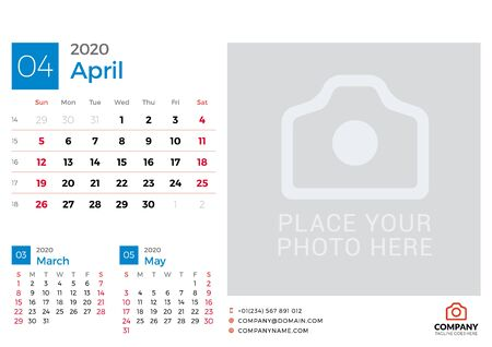Calendar for April 2020. Vector design print template with place for photo. Week starts on Sunday. 3 months on page