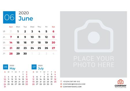 Calendar for June 2020. Vector design print template with place for photo. Week starts on Sunday. 3 months on page Çizim
