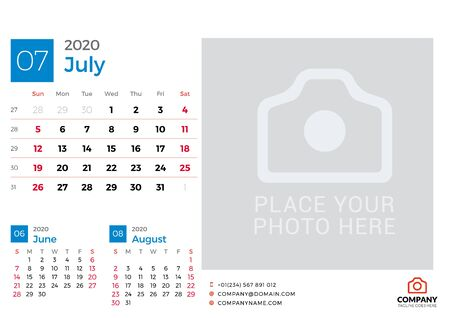 Calendar for July 2020. Vector design print template with place for photo. Week starts on Sunday. 3 months on page
