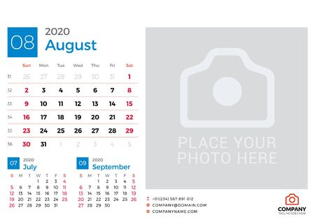 Calendar for August 2020. Vector design print template with place for photo. Week starts on Sunday. 3 months on page