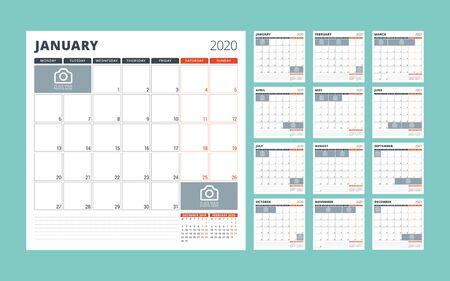 Calendar planner for 2020. Stationery design template. Set of 12 months. Week starts on Monday. Vector illustration