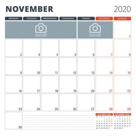 Calendar planner for 2020. Stationery design template. Week starts on Monday illustration