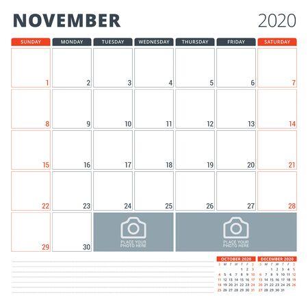 Calendar planner for 2020. Stationery design template. Week starts on Sunday.