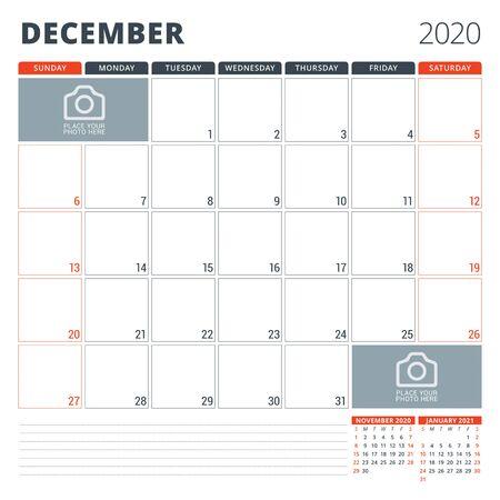 Calendar planner for 2020. Stationery design template. Week starts on Sunday illustration Ilustração