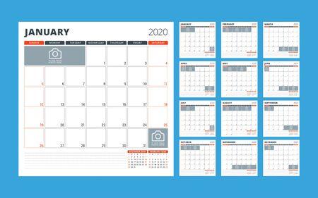 Calendar planner for 2020. Stationery design template. Week starts on Sunday. Set of 12 pages. Vector illustration