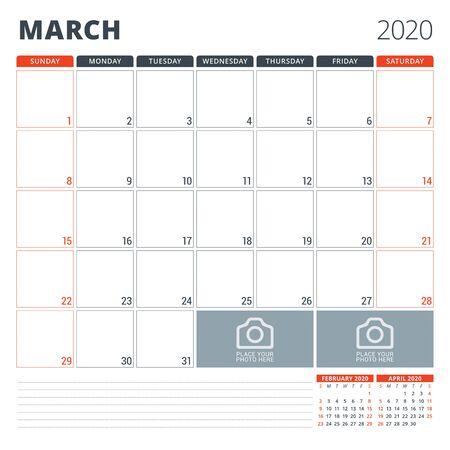 Calendar planner for 2020. Stationery design template. Week starts on Sunday. Vector illustration Ilustração