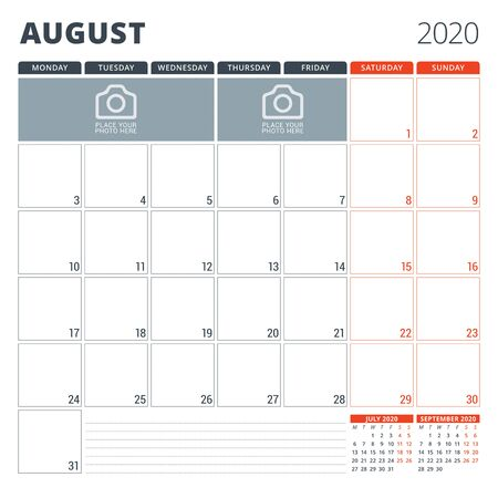 Calendar planner for 2020. Stationery design template. Week starts on Monday. Vector illustration Ilustração