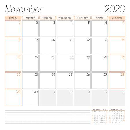 Calendar planner for November 2020. Week starts on Sunday. Vector illustration Ilustração