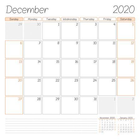 Calendar planner for December 2020. Week starts on Sunday. Vector illustration