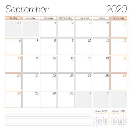 Calendar planner for September 2020. Week starts on Sunday. Vector illustration