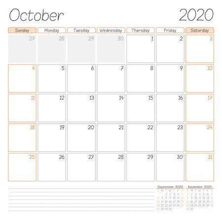 Calendar planner for October 2020. Week starts on Sunday. Vector illustration Ilustração
