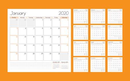Planificador de calendario para el año 2020. Conjunto de 12 meses. Plantilla imprimible. La semana comienza el domingo. Ilustración vectorial