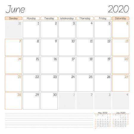 Calendar planner for June 2020. Week starts on Sunday. Vector illustration