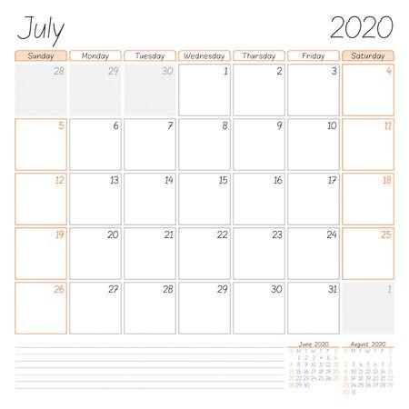Calendar planner for July 2020. Week starts on Sunday. Vector illustration