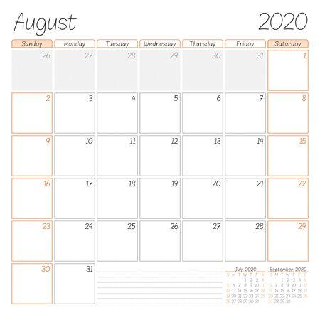 Planificador de calendario para agosto de 2020. La semana comienza el domingo. Ilustración vectorial