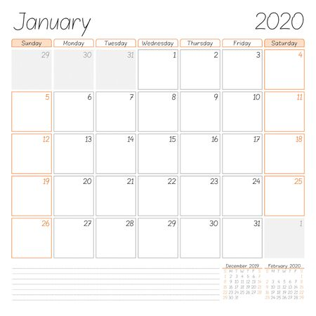 Calendar planner for January 2020. Week starts on Sunday. Vector illustration