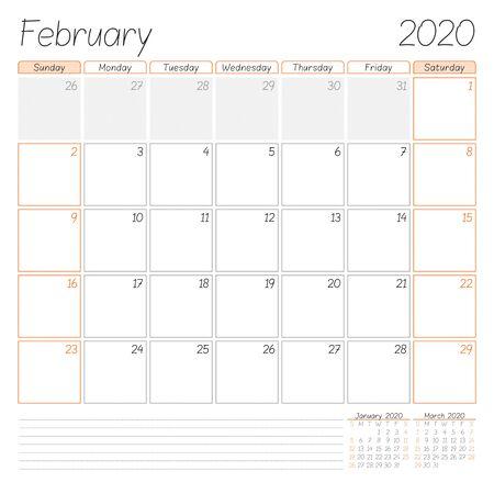 Calendar planner for February 2020. Week starts on Sunday. Vector illustration