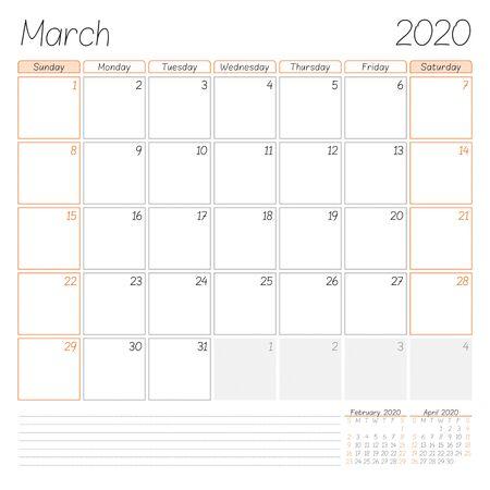 Calendar planner for March 2020. Week starts on Sunday. Vector illustration