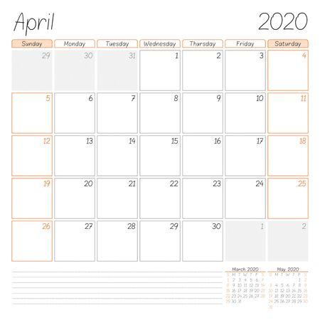 Calendar planner for April 2020. Week starts on Sunday. Vector illustration