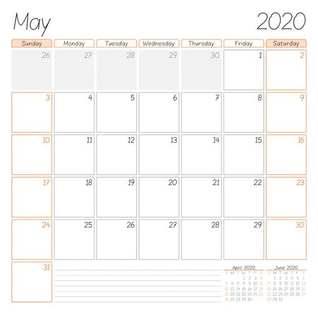 Calendar planner for May 2020. Week starts on Sunday. Vector illustration