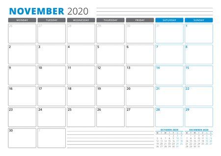 Calendar planner template for November 2020. Stationery Design. Week starts on Monday. 3 Months on the Page. Vector Illustration Ilustração
