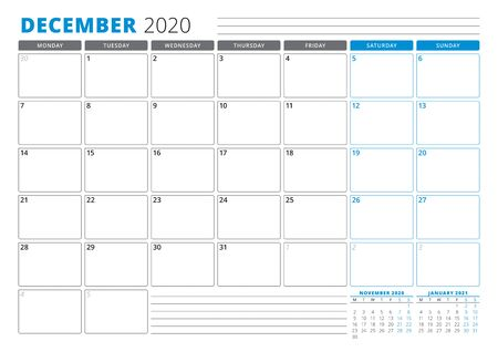 Calendar planner template for December 2020. Stationery Design. Week starts on Monday. 3 Months on the Page. Vector Illustration