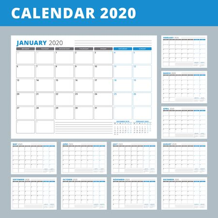 Calendar planner template for 2020 year. Stationery Design. Week starts on Monday. Set of 12 months. Vector Illustration