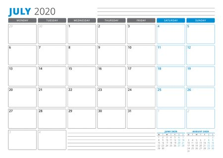 Calendar planner template for July 2020. Stationery Design. Week starts on Monday. 3 Months on the Page. Vector Illustration