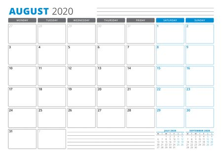 Calendar planner template for August 2020. Stationery Design. Week starts on Monday. 3 Months on the Page. Vector Illustration