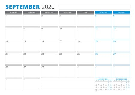 Calendar planner template for September 2020. Stationery Design. Week starts on Monday. 3 Months on the Page. Vector Illustration