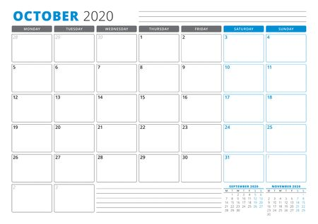 Calendar planner template for October 2020. Stationery Design. Week starts on Monday. 3 Months on the Page. Vector Illustration