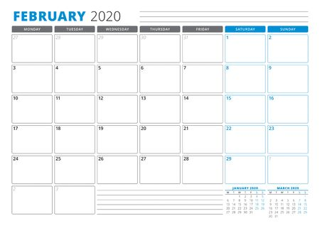 Calendar planner template for February 2020. Stationery Design. Week starts on Monday. 3 Months on the Page. Vector Illustration