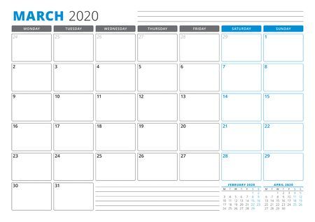 Calendar planner template for March 2020. Stationery Design. Week starts on Monday. 3 Months on the Page. Vector Illustration Banco de Imagens - 133538419