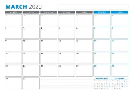 Calendar planner template for March 2020. Stationery Design. Week starts on Monday. 3 Months on the Page. Vector Illustration Ilustração