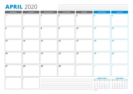 Calendar planner template for April 2020. Stationery Design. Week starts on Monday. 3 Months on the Page. Vector Illustration
