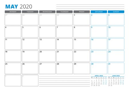 Calendar planner template for May 2020. Stationery Design. Week starts on Monday. 3 Months on the Page. Vector Illustration