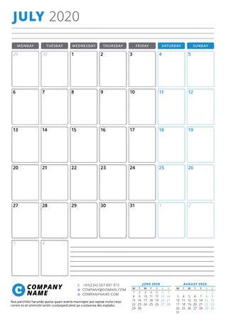 Calendar template for July 2020. Business planner. Stationery design. Week starts on Monday. Portrait orientation. Vector illustration