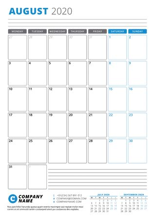 Calendar template for August 2020. Business planner. Stationery design. Week starts on Monday. Portrait orientation. Vector illustration