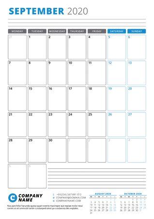 Calendar template for September 2020. Business planner. Stationery design. Week starts on Monday. Portrait orientation. Vector illustration