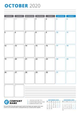 Calendar template for October 2020. Business planner. Stationery design. Week starts on Monday. Portrait orientation. Vector illustration Ilustração