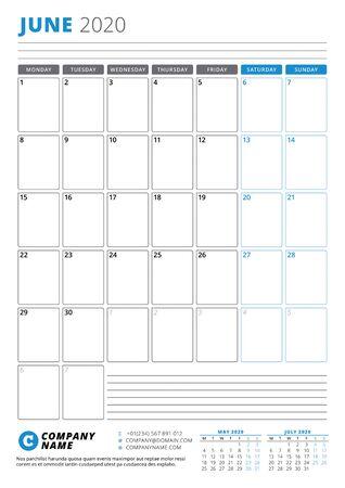 Calendar template for June 2020. Business planner. Stationery design. Week starts on Monday. Portrait orientation. Vector illustration