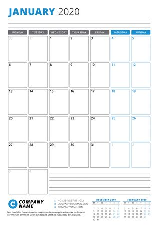 Calendar template for January 2020. Business planner. Stationery design. Week starts on Monday. Portrait orientation. Vector illustration