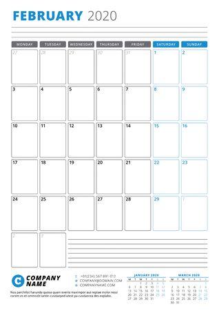 Calendar template for February 2020. Business planner. Stationery design. Week starts on Monday. Portrait orientation. Vector illustration Ilustração