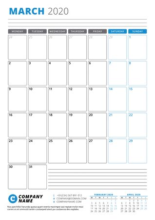 Calendar template for March 2020. Business planner. Stationery design. Week starts on Monday. Portrait orientation. Vector illustration Banco de Imagens - 133538426