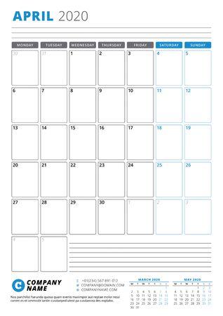 Calendar template for April 2020. Business planner. Stationery design. Week starts on Monday. Portrait orientation. Vector illustration