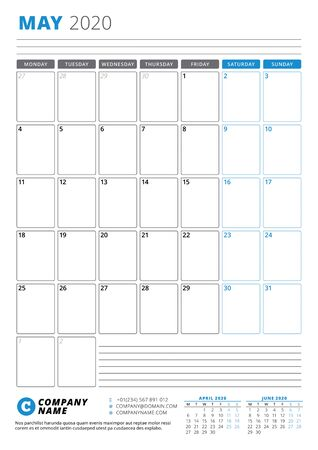 Calendar template for May 2020. Business planner. Stationery design. Week starts on Monday. Portrait orientation. Vector illustration