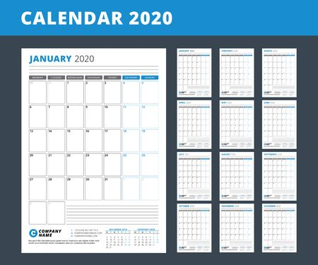 Modello di calendario per l'anno 2020. Pianificatore aziendale. Progettazione di cancelleria. La settimana inizia il lunedì. Set di 12 mesi. Orientamento verticale. Illustrazione vettoriale